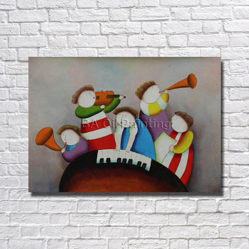 Cartoon Free Shipping 100% Handmade High Quality Chidren Play Music Oil Painting Pictures for Home Decor Nice Gifrs No Framed