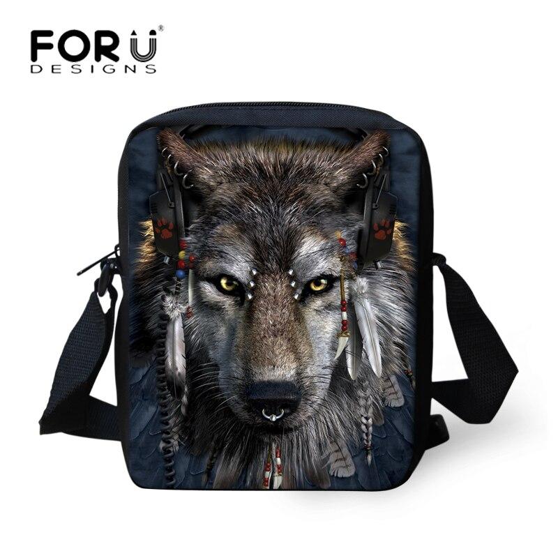 FORUDESIGNS Wolf Druck Messenger Bags für Männer Frauen Heiße Marke Designer Kleine Cross Body Taschen für Damen Herren Reisetaschen 2018