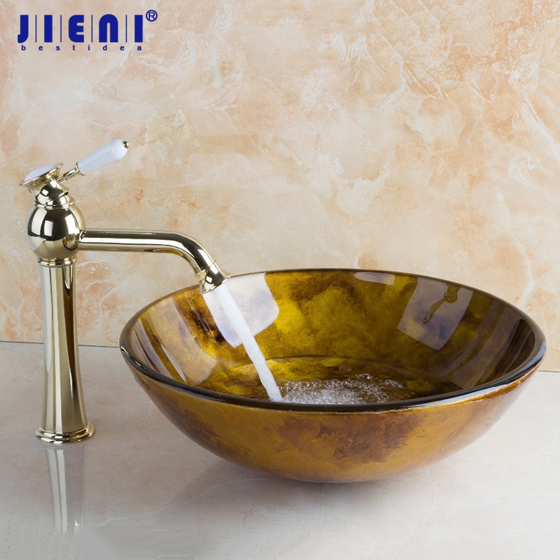 Countertop Sink Painting Round Bathroom Art Washbasin Tempered Glass Vessel Sink With Brass Polished Golden Faucet Set countertop sink painting round bathroom faucet art washbasin tempered glass vessel sink with brass faucet sets