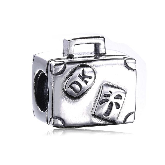 3a5ec60eed10 US $12.98 |Authentic 925 Sterling Silver Original Charm Fit Pandora  Bracelet Diy Travel Paris Suitcase Handbag Charms Beads Jewelry-in Beads  from ...