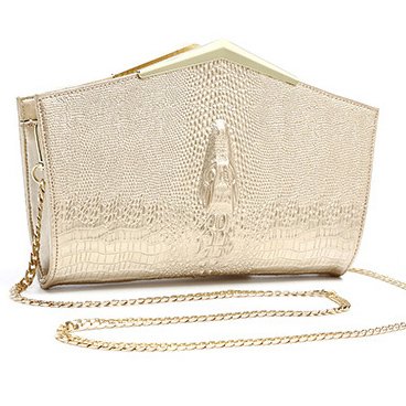 Genuine leather Crocodile Pattern Women Purse Clutch Bag Luxury Shiny Women Minaudiere Envelope Bags PU Party Purse with Chain