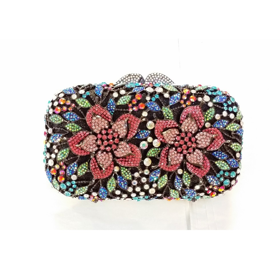 #8355A Crystal Flower Floral Bridal Party hollow Metal Evening purse clutch bag box handbag case