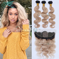 7A Brazilian Virgin Hair Body Wave 3 Bundles With Ear to Ear 13x4 Silk Base Frontal Closure Ombre #1B/27 Honey Blonde Color