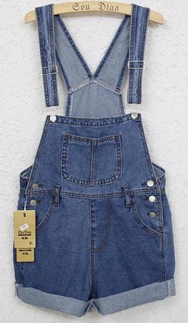 2015 New women's colthing Denim short pants cowboy straps shorts Campus braces jeans suspender trousers overalls Jumpsuits
