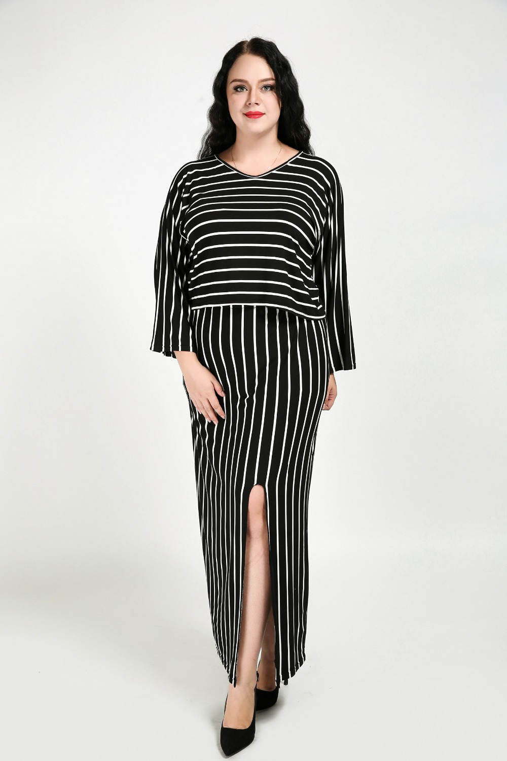 Womens Sexy Plus Size Dress Suits Long Sleeve Loose Striped Suits Slits Design Spring Autumn Dress Suits Black And White 7XL