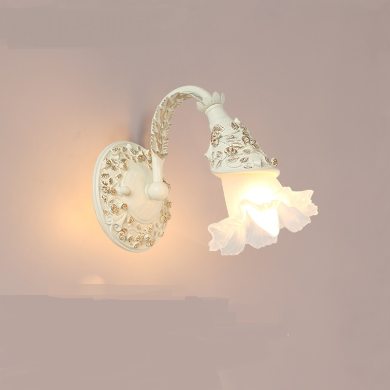 European style bedroom bedside lamp living room glass flower wall lamps backdrop Jane led aisle crystal mirror wall lights ZA a1 wall lamp bedside lamp wall lamp european style and simple double bedroom living room warm aisle hotel glass wall lights
