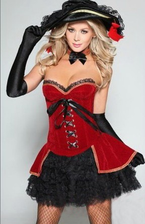 free shipping women corset halloween costumes sexy pirate cosplay fanny club dancing queen dress - Corsets Halloween Costumes