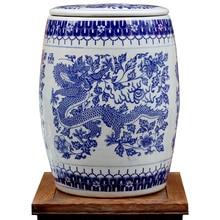 Novel Chinese Blue and White Ceramic Porcelain Garden Stool With Storage Jar Function