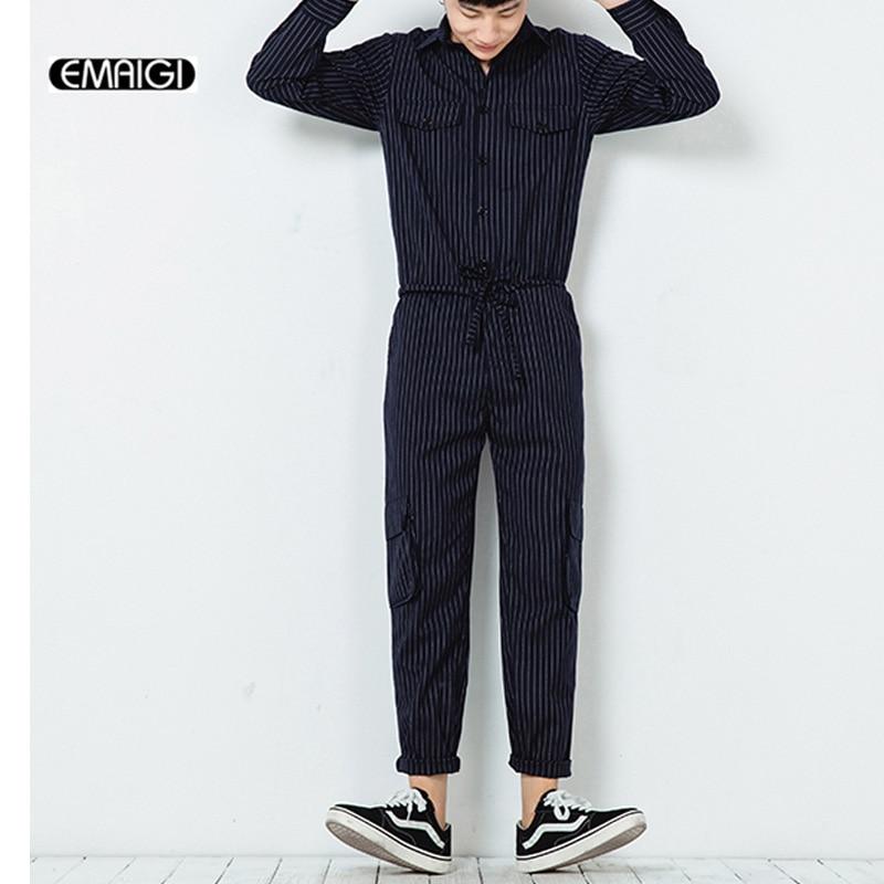 Hommes rayure combinaisons à manches longues salopette hommes décontracté bavoir Harem pantalon Streetwear homme pantalon combinaisons K169-in Salopette from Vêtements homme    1