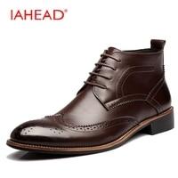 IAHEAD גברים מגפי שרוכים מגפי צ 'לסי עיצוב חדש מזדמנים עור גברים נעלי חורף מגפי גברים נעלי עבודה sapato masculino MH583