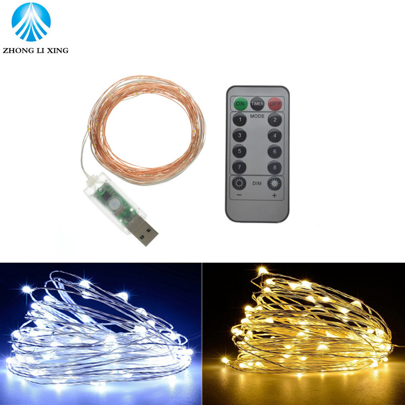 5Meter/10Meter 8 Modes USB Led String Lights with Remote Controlle Copper Wire LED Xmas Lights Waterproof Party Wedding Holiday