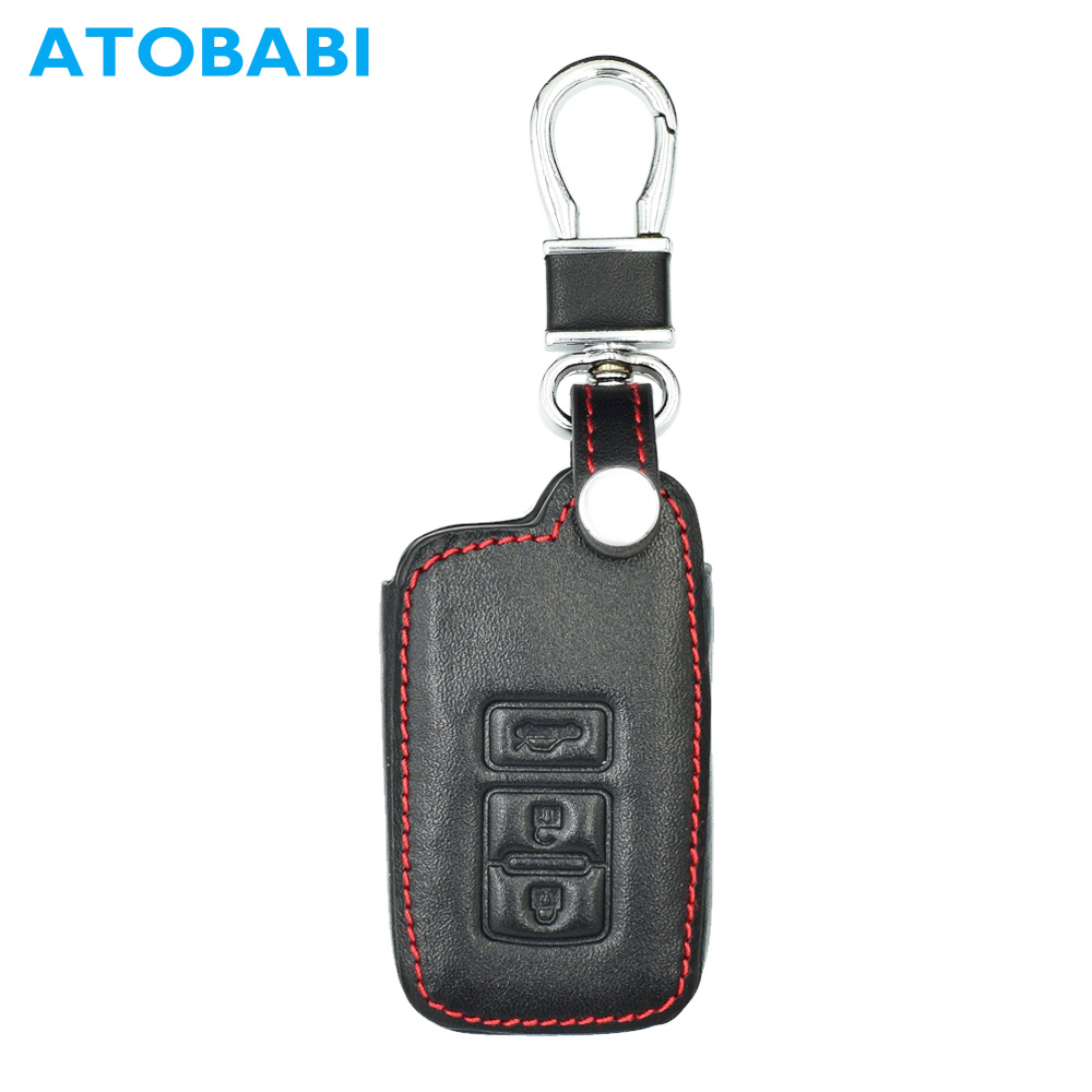 3 Buttons Leather Key Cover Fob Cases For Toyota Avalon Camry Corolla Rav4 Highlander Smart Key Keychain Car Styling Key Case For Car