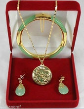 Charming green jewerly Dragon Phoenix pendants necklace earring bracelet set >free shipping