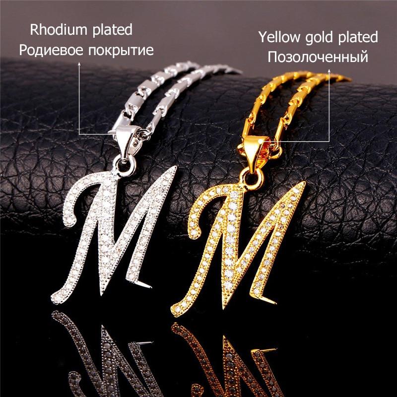 U7 Capital Initial M Letter Naszyjnik Dla kobiet Srebrny / Złoty - Modna biżuteria - Zdjęcie 4