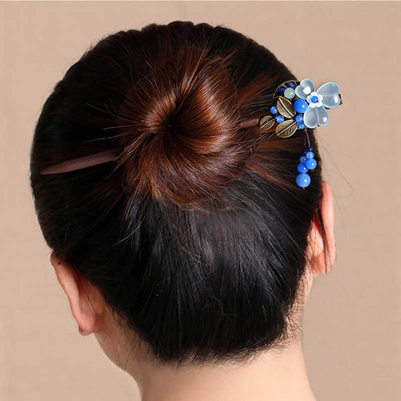 Ручной работы свадебные Женские аксессуары для волос дерево шпилька для волос палочки для женщин Hairwear невесты Украшения для волос Винтаж