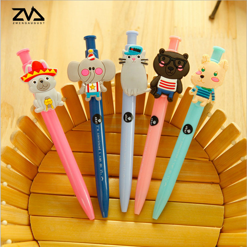 5 pcs/lot Cute Kawaii Cartoon animal Ballpoint Pen For Writing School Supplies Office Accessories Stationary Kids Student Gift