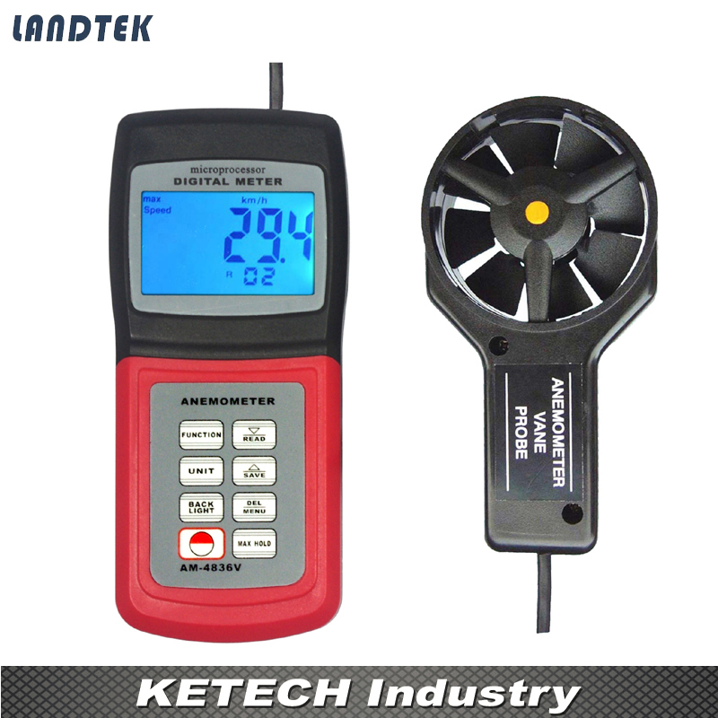 все цены на AM4836V Handheld Digital Anemometer Air Volume Wind Speed Meter Temperature Measuring with Vane Sensor Backlight онлайн