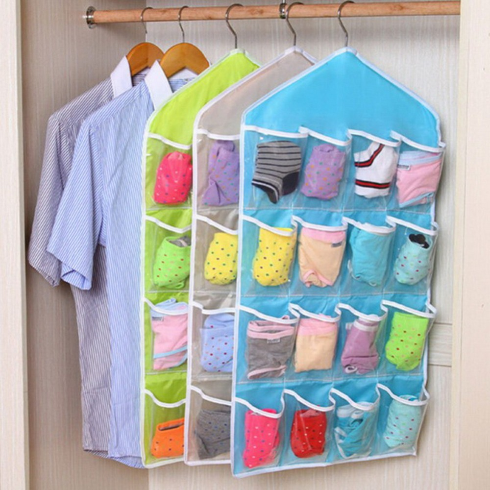 16 Lattice Transpa Wardrobe Bag Shelf Hanging Bedroom Wall Door Closet Storage Net Kids Toy Organizer
