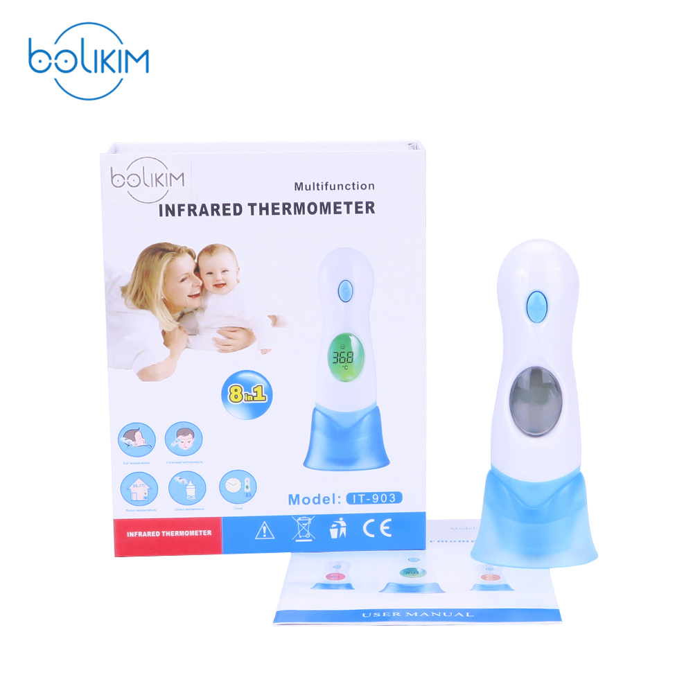 BOLIKIM Non Contact IR Body Infrared Thermometer 4 in 1 Baby and Adult Digital Ear Forehead Ambient Exergen Body Thermometer Gun
