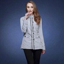 Русский бренд Плюс размер 46-58 весна и осень casaco feminino длинный-рукав короткий дизайн двойной слой тонкий куртка M103