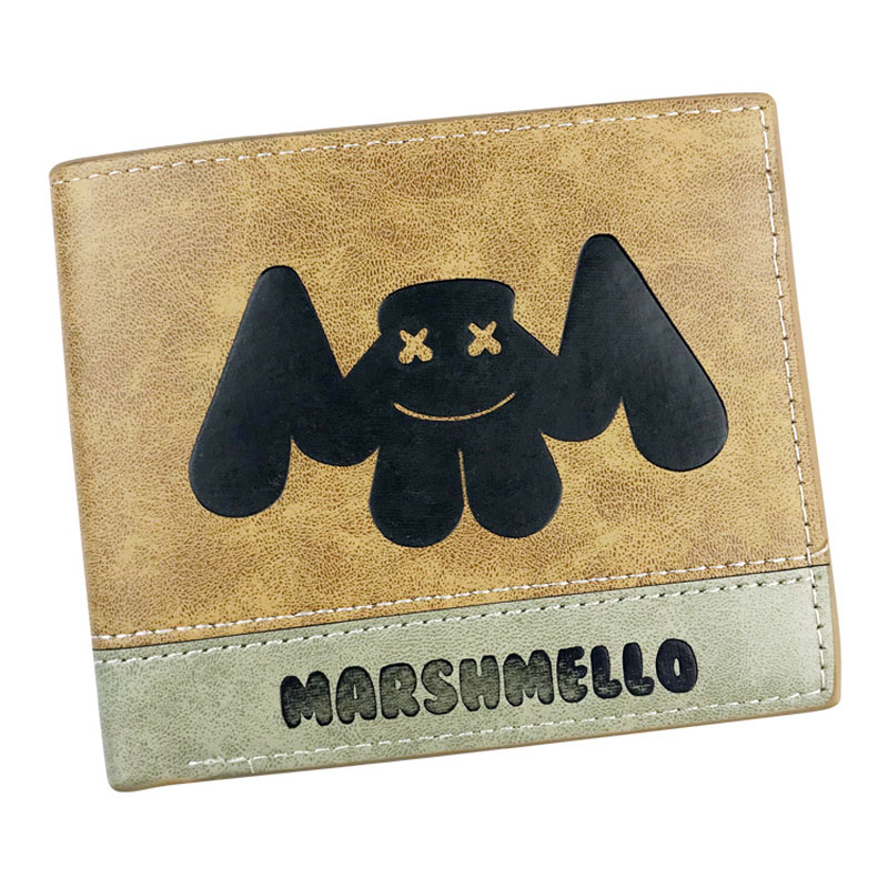 Cool Anime Marshmello PU Leather Folding Wallet Money Bag Card and Photo Holder for Girl and Boy Gift Pocket Purse 2016 new arriving pu leather short wallet the price is right and grand theft auto new fashion anime cartoon purse cool billfold