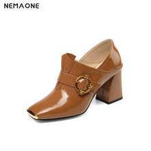 NEMAONE Spring autumn women Pumps Genuine Leather metal toe High Heels Shoes Woman Ol Work Shoes large size 43