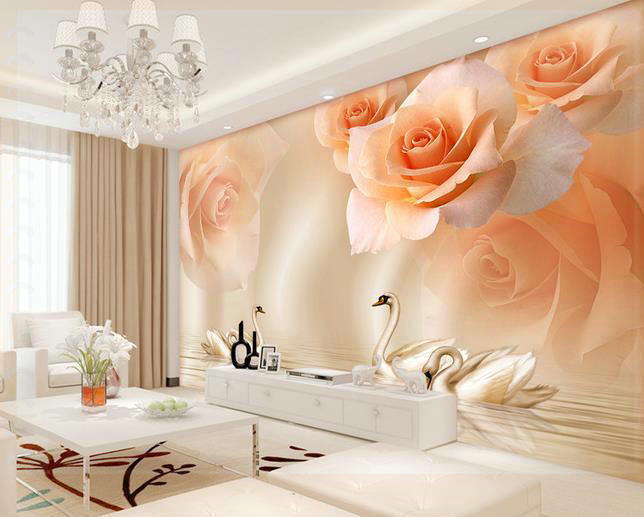 Us 2239 New Large Wallpaper Custom Wallpaper Yellow Roses Swan Tv Backdrop Mural Wall Paper Papel De Parede Wall Stickers201517 Pink Wal In