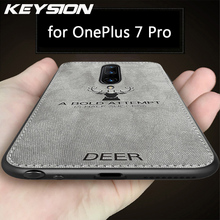KEYSION Shockproof Phone Case For OnePlus 7 Pro Fabric Cloth Texture Soft TPU Silicone Back Cover for Oneplus 7 6 6T 1+7 Pro