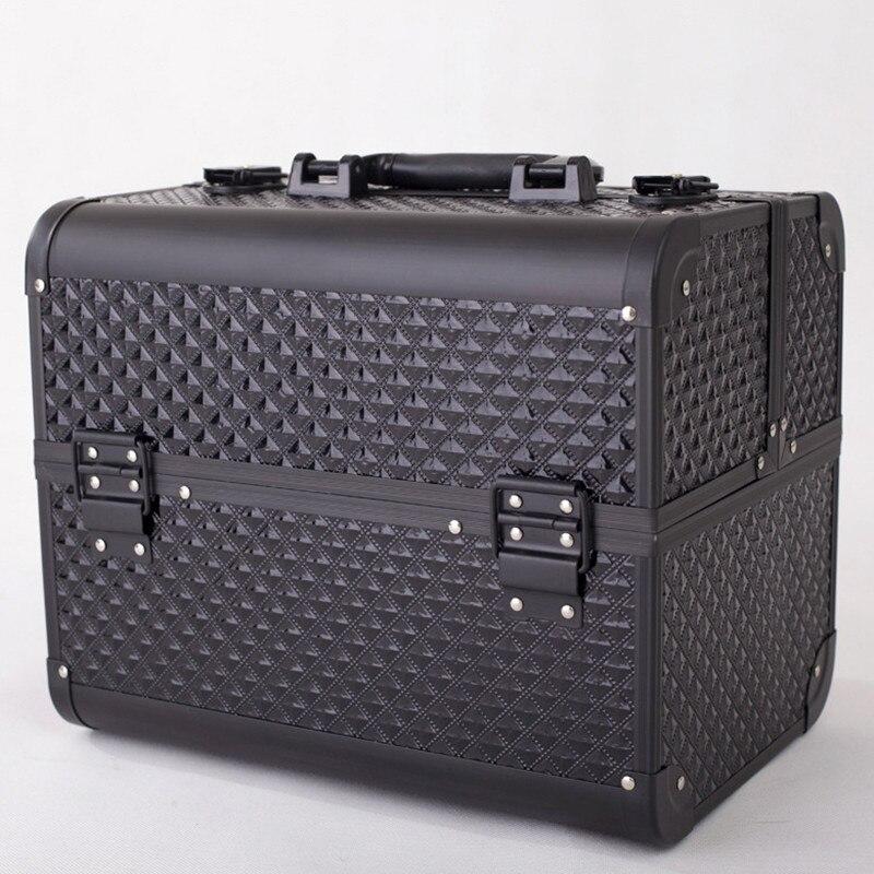 Professionale In Alluminio PVC Del Chiodo Cassetta Degli Attrezzi Make Up Beauty Case Cosmetic Bag Multi Livelli di Monili Con Serratura Regalo Valigia di Viaggio