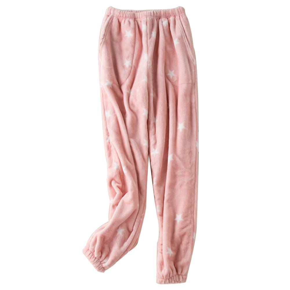 Winter Women Star Print Soft Flannel Long Pajama Pants Warm Lounge Trousers