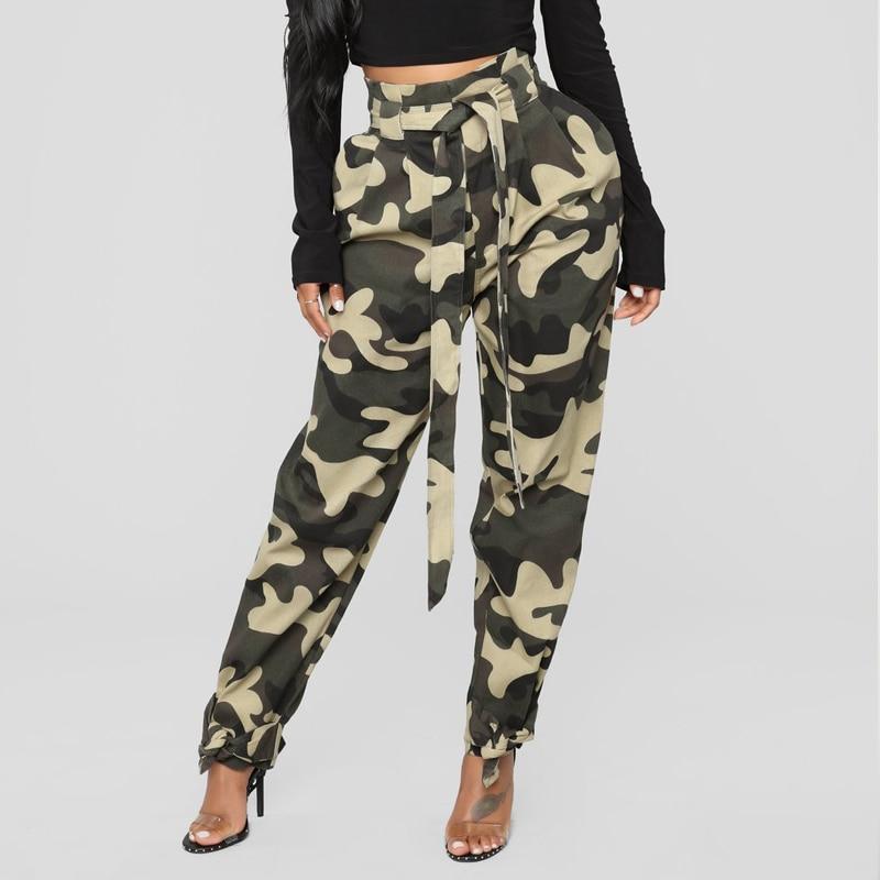 Women Fashion Camouflage Jogger   Pants   Women Military Harem   Pants   Pantalon Femme   Capris   Trouser with Belt Cotton Camo Cargo   Pants