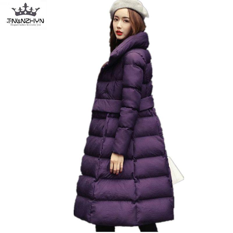 Hiver Chaud 2019new Veste Tnlnzhyn Lâche Moyen brown purple armygreen Black Femmes Chantiers Vêtements Long Grands Coton Épais Sk115 Manteau q5PvPd