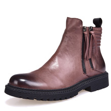 купить Autumn Winter New Retro Riding Boots Mens High top shoes Genuine Leather British Leisure all-match cowhide chelsea boots дешево