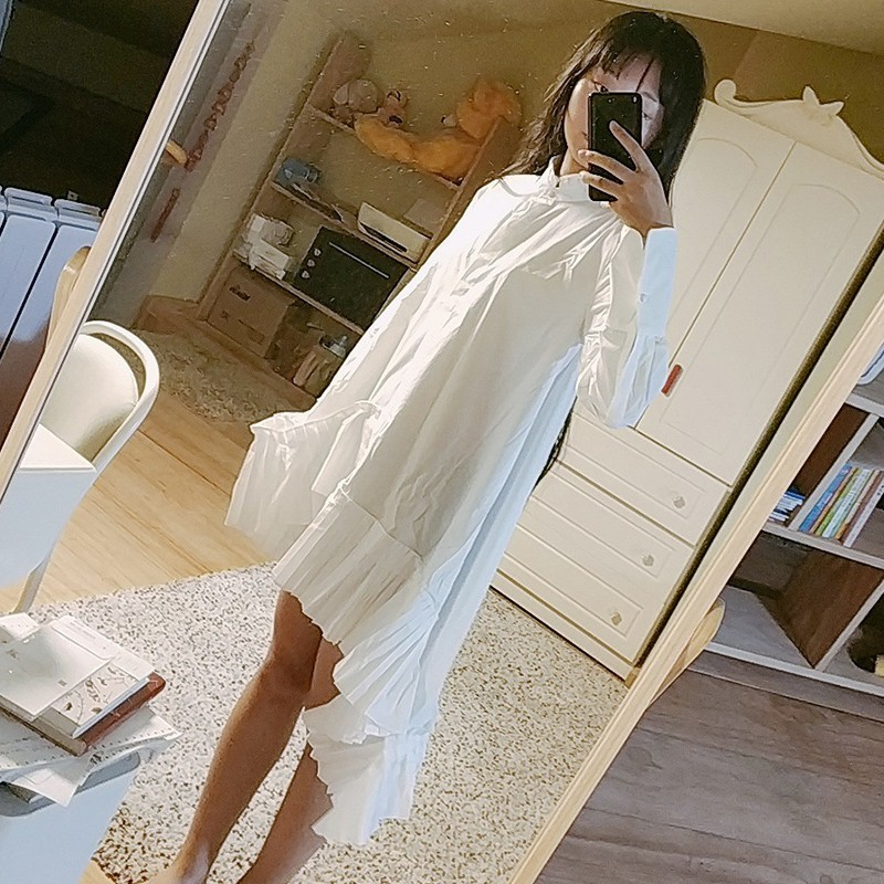TWOTWINSTYLE Asymmetry Patchwork Ruffle Women's Shirt Blouse Long Sleeve Pleated Hem White Tops Female Autumn 2019 Oversized