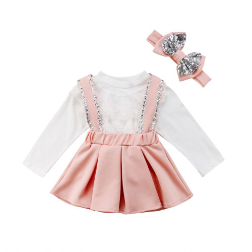 3Pcs Toddler Kids Girls Clothes Sets Lace Tops Sequin Strap Skirt Headband 3pcs Lace Cute Outfits Set Girl 1-6T купить дешево онлайн