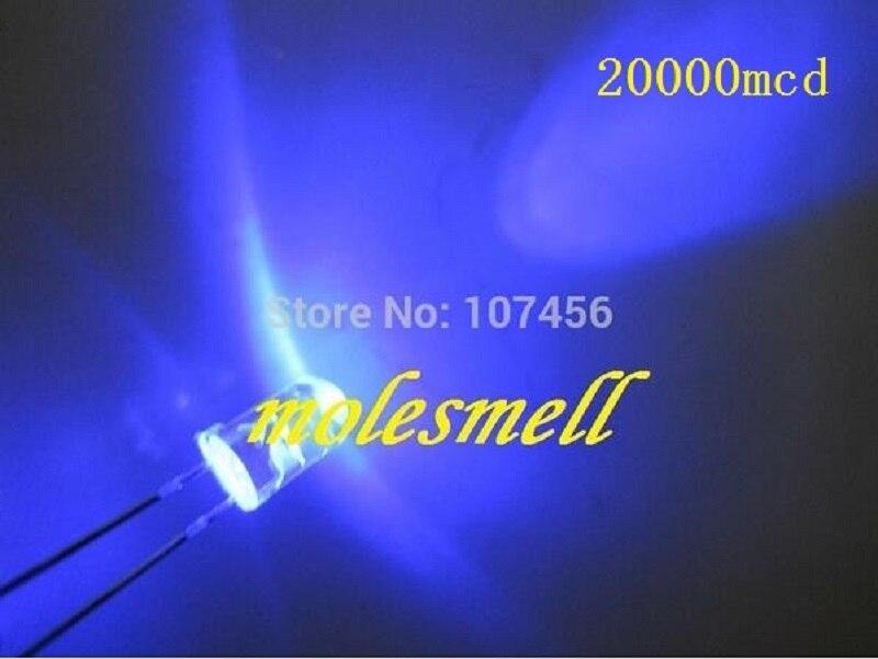 Frete Grátis Ultra Brilhante Azul Led Água Claro Redondo 20000mcd 1000 Pçs 5mm