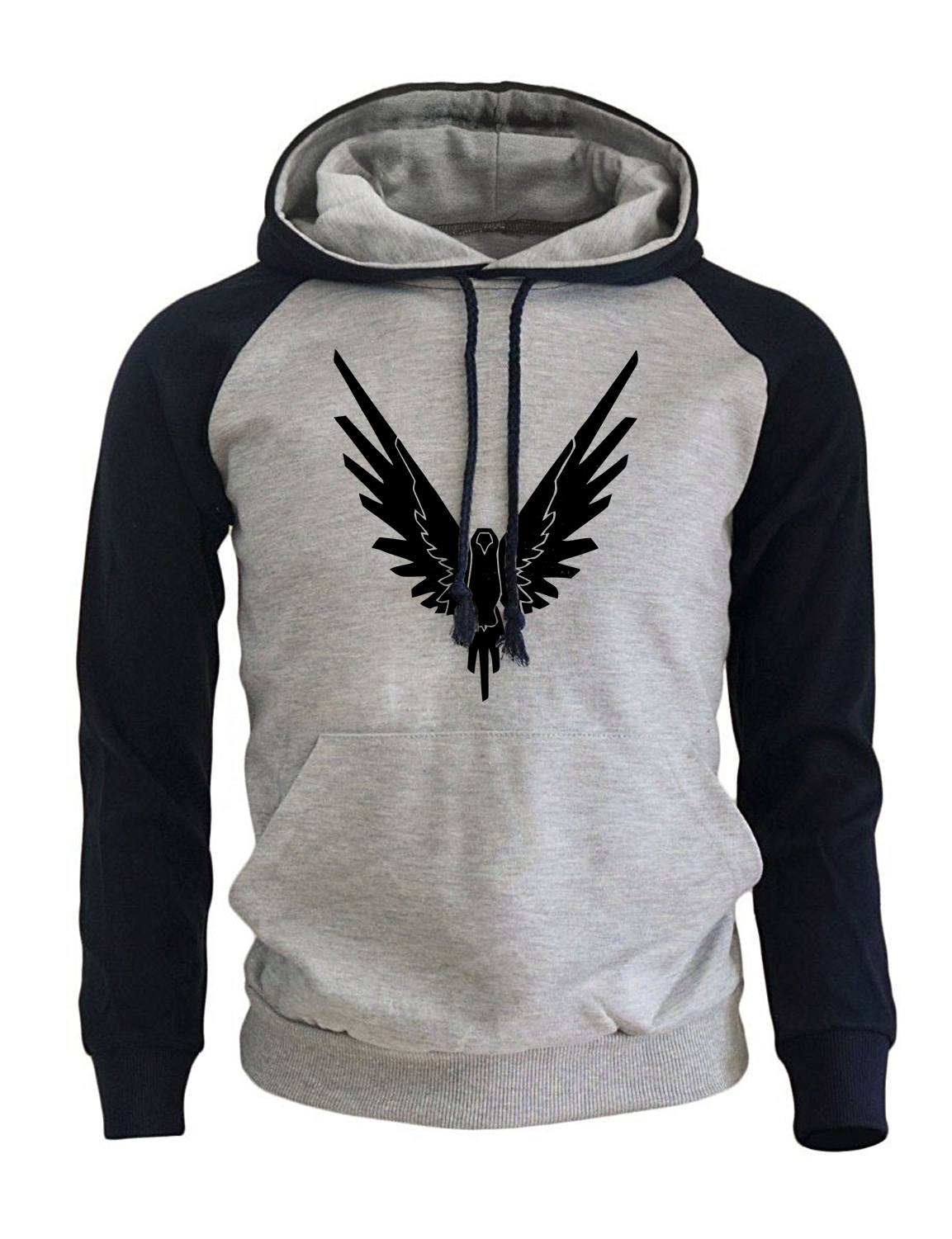 Streetwear Hoodies For Men 2018 Autumn Winter Fleece Raglan Sweatshirt Harajuku Hoodie Brand Mens Sportswear Eagle Hip Hop Hoody