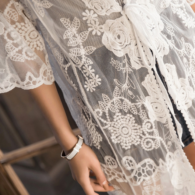 Spicylace Summer Tops Lace Women Long Sleeve One Size Cardigan Blouse Shawl Tops Beach Lace Hollow Out Long Blouse Holiday