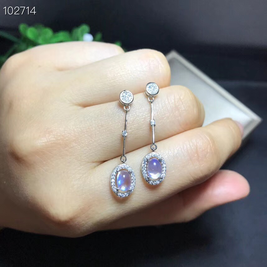 Almei Natural Moonstone Earrings for Women, 925 Sterling Silver, 4*6mm*2 Pcs Gemstone Wedding Engagement Party Jewelry FR115Almei Natural Moonstone Earrings for Women, 925 Sterling Silver, 4*6mm*2 Pcs Gemstone Wedding Engagement Party Jewelry FR115