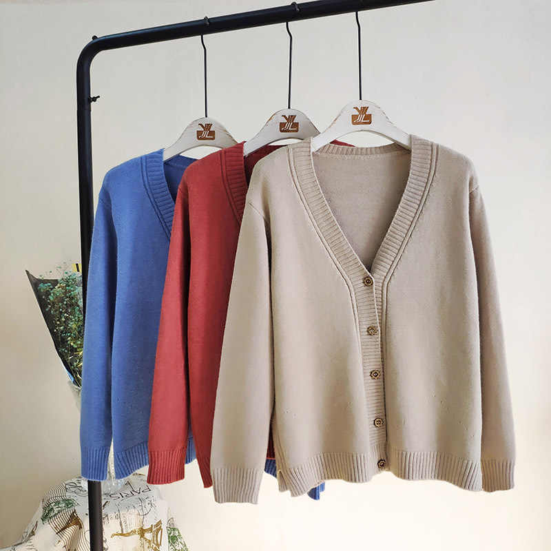 Women Outerwear Sweaters Autumn Winter Korean Fashion Slim V-neck Knit Cardigans Long Sleeve Single Breasted Cardigan