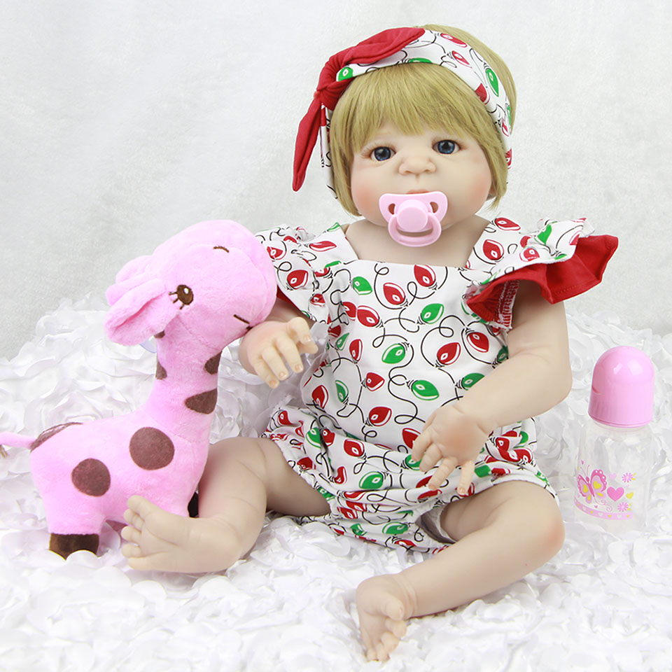 57 cm KEIUMI Gold Wig Reborn Baby Doll Toys Full Silicone Vinyl Body Babies Girl Doll 23 inch Real like Reborn Bonecas For Sale keiumi 23 inch reborn baby doll full body silicone princess babies girl real like new born doll boneca reborn kids playmates