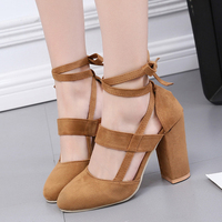 Newest Women pumps Elegant Sexy Ankle Straps High Heels Shoes Summer Ladies Bridal Suede Thick Heel Sandals Party Clubwear Pumps