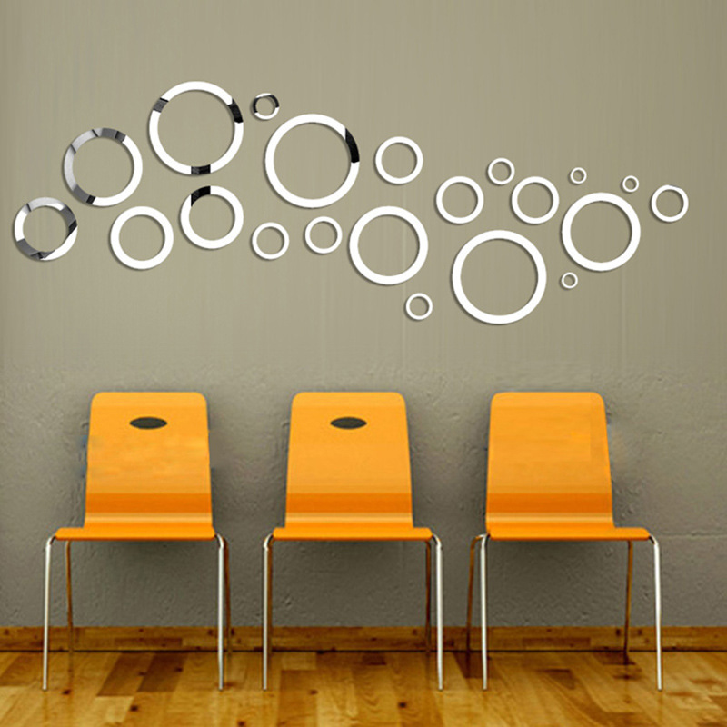 3D Circles Rings Acrylic Mirror Wall Stickers For Living Rooms Bedroom Office Home Decor Mirrored Decorative Sticker Wall Decal