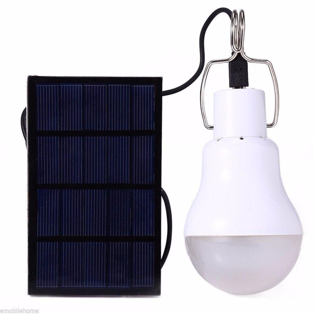 Novo LED Solar lâmpada 15 w 130lm Nenhuma cintilação Pátio Solar Energy saving bulb lamp para Camping Pesca Tenda de Emergência iluminação