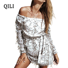 QILI Off The Shoulder Women Dress Tassel Sequined Long Sleeve Slash Neck Sexy Mini Dresses White Khaki Elegant Lady Casual