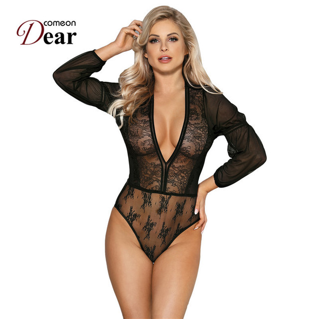 Comeondear Blue Black Lace Sleeve Long Sleeve Bodysuit V-neck Sheer Mesh  Playsuits And Jumpsuits Vintage Women Bodysuit RK80542 8edf175ef