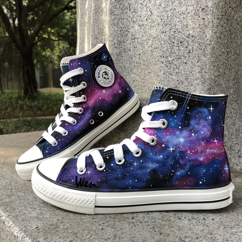 Wen Original Hand Painted Shoes Design Custom Purple Galaxy Nebula High Top Canvas Sneakers Christmas Gifts for Boys Girls wen original high top sneakers steam punk hand painted unisex canvas shoes design custom boys girls athletic shoes gifts