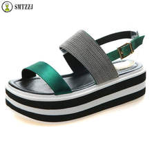 SMTZZJ Luxury Design 2019 Platform Sandals Shoes Peep Open Toe Green Black Ankle Wrap Flats Wedge