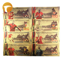 8pcs/lot Nice Russia Banknotes Set Football 100 Rouble Gold Banknote in 24K Plated For Collection