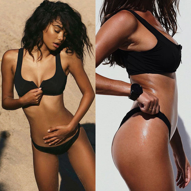 Chest Zipper Push Up Padded Bikini